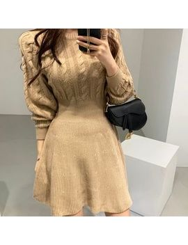 Baehype   Long Sleeve A Line Cable Knit Dress by Baehype
