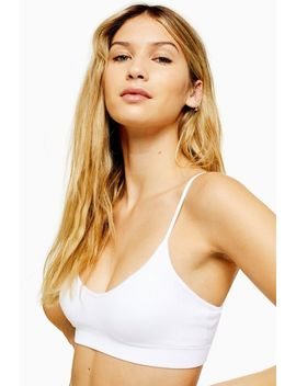 White Seamless Padded Crop Bra by Topshop