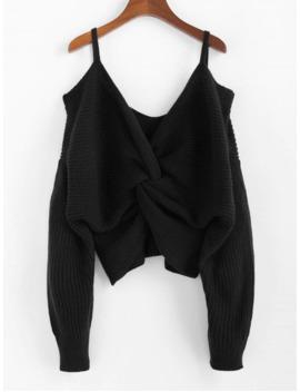 Hot Zaful Twisted Cold Shoulder Jumper Sweater   Black M by Zaful