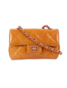 Chanel Classic Flap Extra Mini Orange Patent Leather Cross Body Bag by Chanel
