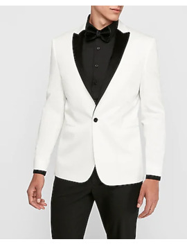 Slim White Velvet Lapel Tuxedo Jacket by Express