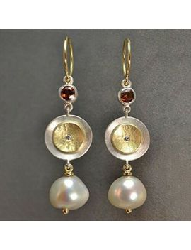 2019 Women Vintage Two Tone Disc Simulated Pearl Earrings by Unbranded