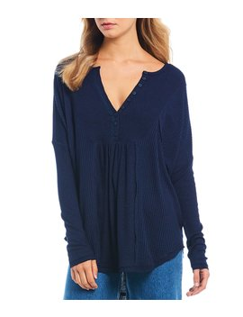 Leo Ribbed Thermal Knit Long Sleeve Henley Top by Free People