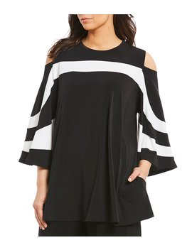 Plus Open Shoulder Trim Platter Top by Ic Collection