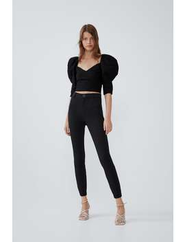 High Waisted Buttoned Leggings by Zara