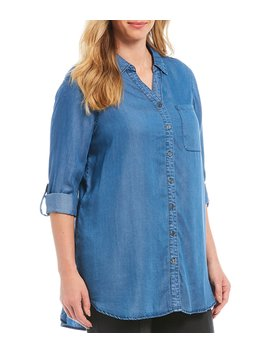 Plus Size Solid Roll Tab Sleeve Button Down Tunic by Intro