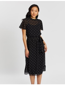 Spot Chiffon Belted Fit Flare Dress by Dorothy Perkins