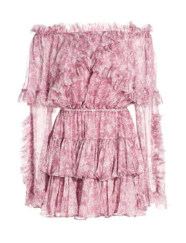 Dahlia Ruffle Off The Shoulder Silk Dress by Caroline Constas
