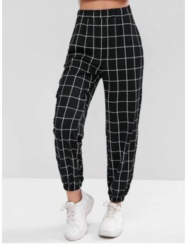 Hot Sale High Waist Plaid Jogger Pants   Black M by Zaful