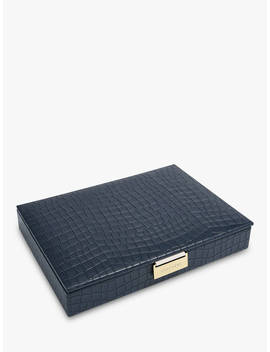 Stackers Mock Croc Classic Lidded Jewellery Box, Navy by Stackers