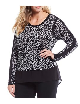 Plus Size Cheetah Print Knit Jersey Mixed Media Hi Low Top by Michael Michael Kors