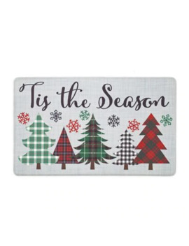 """Marketplace Comfort """"Tis The Season"""" Plaid Tree Kitchen Mat by Bed Bath And Beyond"""