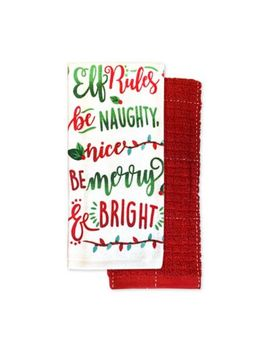 Elf Rules Kitchen Towel (Set Of 2) by Bed Bath And Beyond