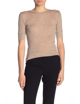 Heathered Wool Crew Neck Short Sleeve Top by Vince