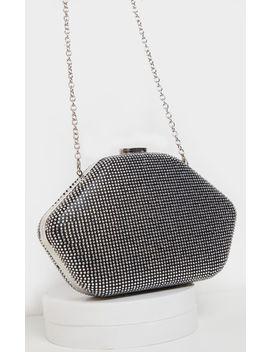 Silver Diamante Angular Clutch Bag by Prettylittlething
