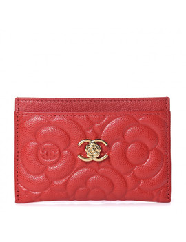 Chanel Caviar Camellia Embossed Card Holder Red by Chanel