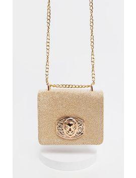 Gold Glitter Lion Head Trim Cross Body Bag  by Prettylittlething