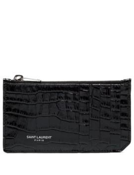 Croc Embossed Leather Cardholder by Saint Laurent
