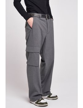 Grey Wide Leg Trousers With Utility Pockets by Jaded London