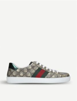 New Ace Golden Bee Embroidered Canvas Trainers by Gucci