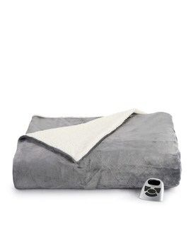 Biddeford Electric Heated Velour Sherpa Blanket by Biddeford