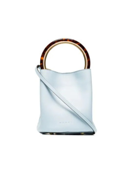 Blue Pannier Leather Resin Handle Bucket Bag by Marni