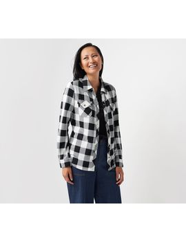 Denim &Amp; Co. Brushed Heavenly Jersey Plaid Y Neck Button Up Top by Denim & Co® Fashions.