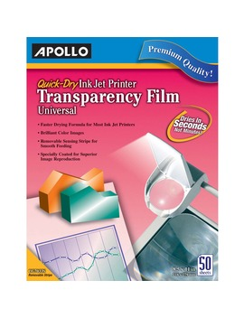 Apollo Quick Dry Color Inkjet Transparency Film, Letter, Clear, 50/Box by Apollo Audio Visual