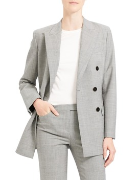Double Breasted Stretch Wool Suit Jacket by Theory