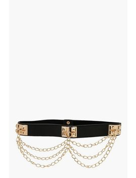 Plus Black Waist With Gold Chain Detail Belt by Boohoo