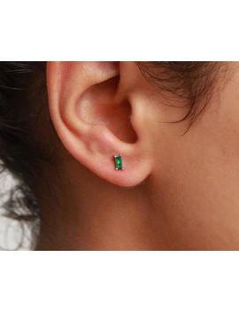 Emerald Stud Earrings, Dainty Earrings, Green Earrings, Tiny Stud Earrings, Small Earrings, Minimalist Earrings, Silver Earrings by Etsy