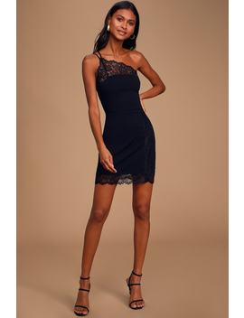 Premonitions Black Lace One Shoulder Bodycon Slip Dress by Free People