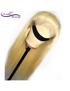 #613 Blonde Wigs 180% Density Silky Straight Brazilian Remy Human Hair Lace Front Wig 613 Lace Front Human Hair Wig Dream Beauty by Ali Express.Com