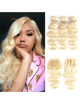 Rebecca 613 Blonde Bundles With Closure Brazilian Body Wave Remy Human Hair Weave Bundles 613 Honey Blonde Bundles With Closure by Ali Express.Com