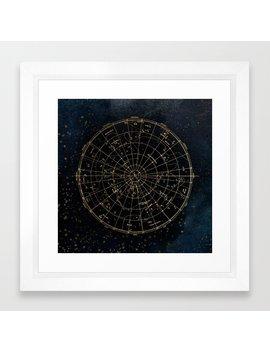 Golden Star Map Framed Art Print by Society6