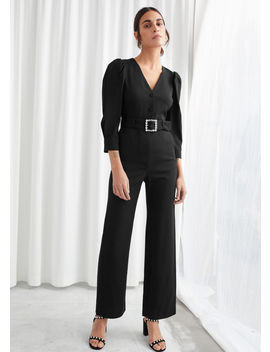 Belted Puff Shoulder Jumpsuit by & Other Stories