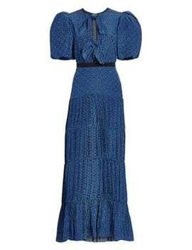 Ancient Treasures Polka Dot Bow Plissé Puff Sleeve Maxi Dress by Johanna Ortiz