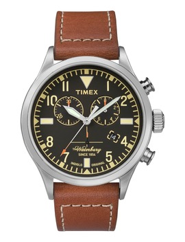 Waterbury Chronograph Leather Strap Watch, 42mm by Timex®