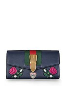 Navy Leather Embroidered Sylvie Wallet by Gucci