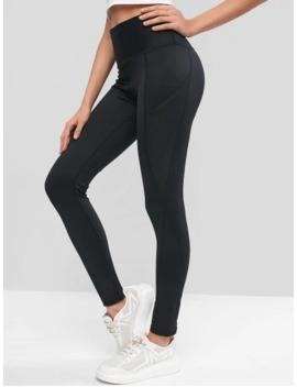 High Waisted Stitching Side Pockets Gym Leggings   Black L by Zaful