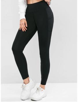 Sale High Waisted Skinny Plain Leggings   Black S by Zaful