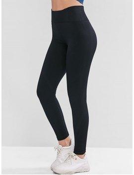 High Waist Solid Sports Leggings   Black S by Zaful