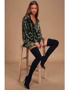 Dress Code Olive Green Plaid Velvet Button Up Shirt Dress by Lulus