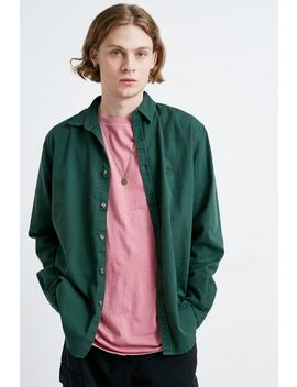 Uo Green Twill Button Down Shirt by Urban Outfitters