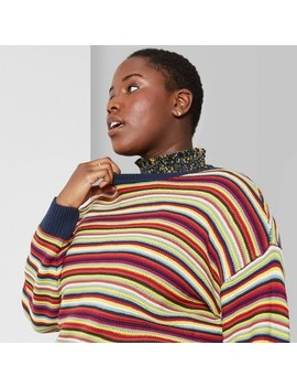 Women's Plus Size Striped Oversized Sweater   Wild Fable™ Rainbow by Wild Fable