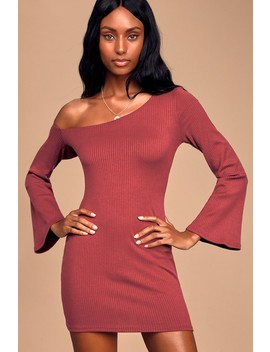 Day By Day Burgundy Asymmetrical Off The Shoulder Mini Dress by Lulus