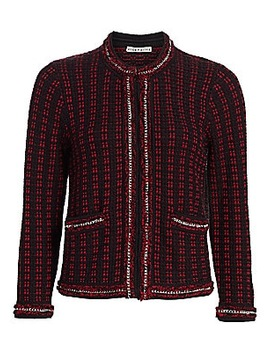 Georgia Chain Trim Tweed Jacket by Alice + Olivia