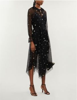 Star Embroidered Mesh Maxi Dress by Maje
