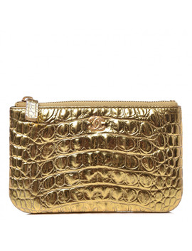 Chanel Metallic Crocodile Embossed Calfskin Small Cocodile Cosmetic Case Gold by Chanel
