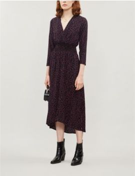 Dotted Shirred Waist Crepe Dress by Maje